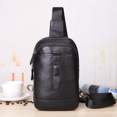 Badass Black Leather Men's 8-inch Trendy Sling Bag Chest Bag One shoulder Backpack Sports Bag For Men