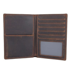 Cool Leather Long Wallet for Men Slim Bifold Wallet Passport Wallet Travel Wallet
