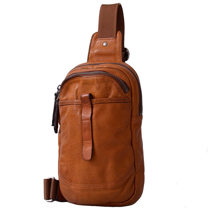 Fashion Brown Leather Men Sling Pack Chest Bag Sling Bag Cool Coffee Leather One Shoulder Backpack For Men
