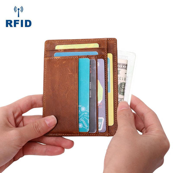Cool Leather RFID Slim Zipper Wallet billfold Small Wallet Front Pocket Wallet Card Wallets For Men