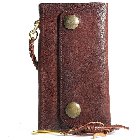 Cool Leather Mens Black Long Chain Wallet Brown Long Trifold Biker Wallet for Men