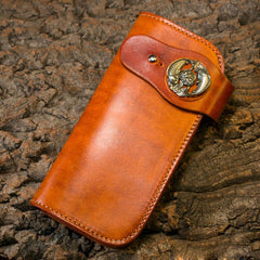 Handmade Long Wallet Mens Cool Leather Chain Wallet Biker Trucker Wallet with Chain