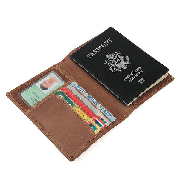 Slim RFID Men's Leather Bifold Passport Wallet Travel Wallet Ticket Wallet For Men