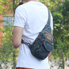 Denim Vintage Blue Messenger Bag Chest Bag Jean Blue One Shoulder Backpack For Men