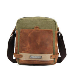 Coffee Canvas Leather Mens Side Bag Vertical Messenger Bags Army Green Canvas Courier Bag for Men