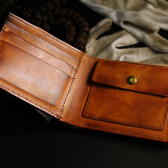 Handmade Leather Lion Mens billfold Wallet Cool Leather Wallet Slim Wallet for Men