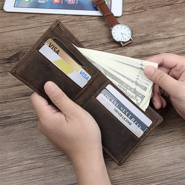 Best Brown Bifold Leather Mens Wallet Slim Wallet Billfold Wallet Driver's License Wallet for Men