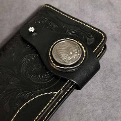Badass Black Handmade Leather Men's Long Biker Wallet Bifold Tooled Long Wallet For Men
