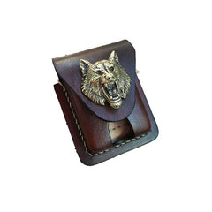 Handmade Brown Leather Mens Classic Zippo Lighter Case Zippo Lighter Pouch with Belt Loop For Men