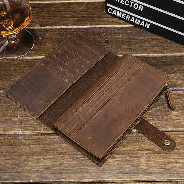 Cool Vintage Mens Brown Leather Brifold Long Wallet for Men Long Wallet