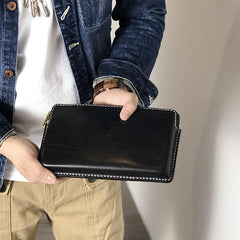 Handmade Black Leather Mens Cool Clutch Wallet Biker Clutch Brown Wristlet Wallet for Men