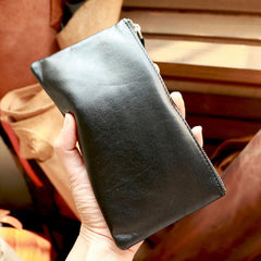 Vintage Black Leather Mens Phone Wallet Clutch Bag Wristlet Bag Zipper Long Wallet For Men