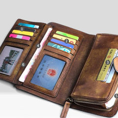 Handmade Leather Mens Cool Long Leather Wallet Trifold Clutch Wallet for Men