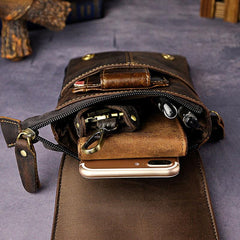 08f65330d441 ... Mens Leather Small Side Bag COURIER BAGs Waist Pouch Holster Belt Case Belt  Pouch for Men ...