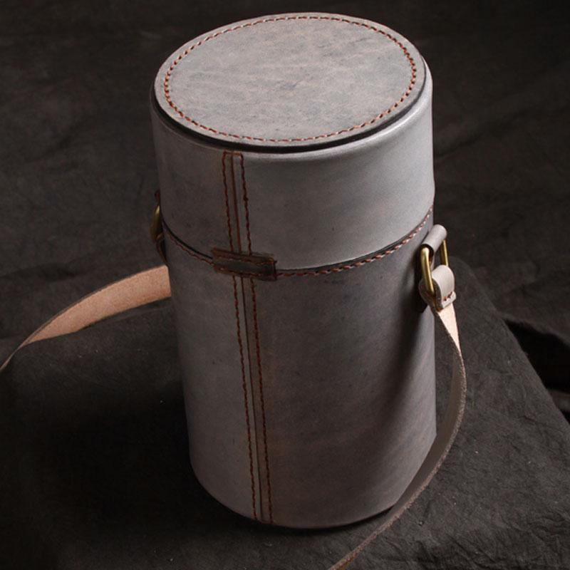 Handmade Gray Leather Mens Barrel Bag Shoulder Bag Messenger Bag for Men