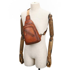 Vintage Brown Leather Men's Sling Bags Chest Bag Brown Sling Pack Sling Backpack For Men