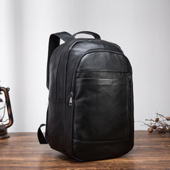 Black Cool Mens Leather College Backpack Laptop Backpack Black Travel Backpack for Men