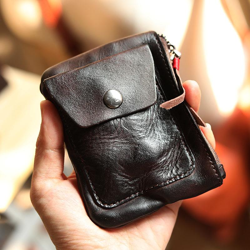 Cool Brown Leather Mens Card Short Wallet Coin Holder Black Change Pouch For Men