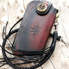 Handmade Mens Cool Leather Long Skull Chain Wallet Biker Trucker Wallet with Chain