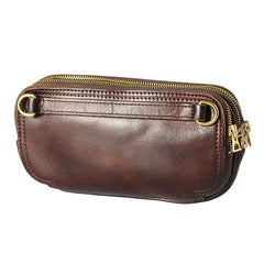 Coffee Cool Leather Mens Long Wallet Large Zipper Wallets Brown Wristlet Clutch Vintage Clutch Purse For Men