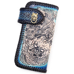 Handmade Leather Skull Punk Mens Chain Tooled Biker Wallet Cool Leather Wallet Long Wallets for Men