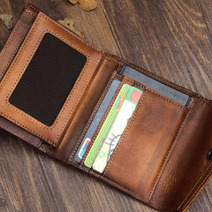 Handmade Mens Cool Short Leather Wallet Men Small Envelope Wallets Bifold for Men