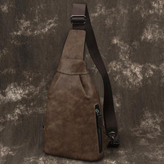 Brown Cool LEATHER MENS Sling Bag One Shoulder Backpack Chest Bag For Men