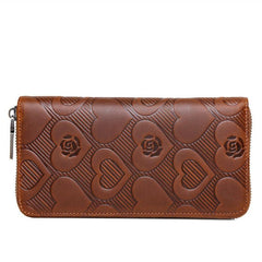 Brown Mens Leather Cards Long Wallets Lot of Cards Zipper Long Wallet Cards Wallet for Men