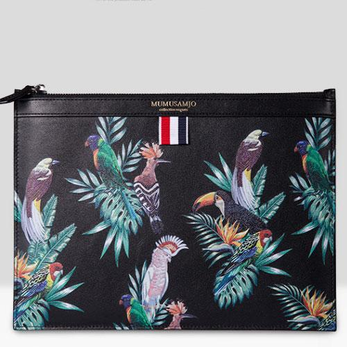 Handmade Leather Mens Clutch Birds Cool Slim Wallet Zipper Clutch Wristlet Wallet for Men