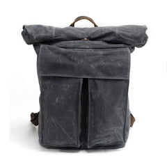 Badass Waxed Canvas Mens Travel Backpack Canvas Hiking Backpack Laptop Backpack for Men