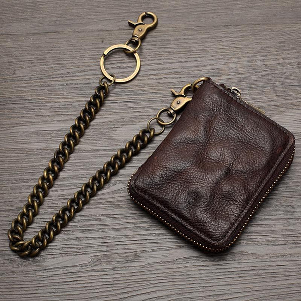 Dark Gray Handmade Leather Mens Small Wallet billfold Wallet Card Wallet For Men