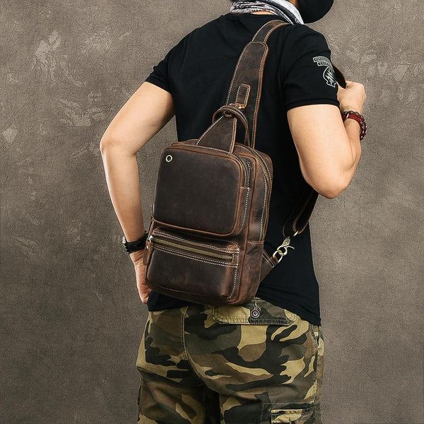 "Cool Leather Mens 10"" Brown Sling Bag Chest Bag Dark Coffee One Shoulder Backpack for Men"
