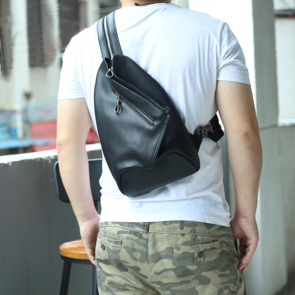 Badass Black Leather Backpack Men's Sling Bag Chest Bag One shoulder Backpack Sling Bag For Men