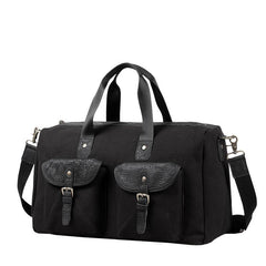 Black Fashion Canvas Mens Casual Large Travel Bag Shoulder Weekender Bag Duffle Bag For Men
