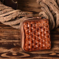 Handmade Leather Mens Cool Wallet Men Braided Wallets Zipper Wallet for Men