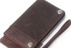 Cool Leather Mens Biker Wallet Long Wallet Bifold Chain Wallet For Men