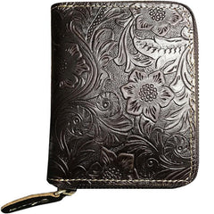 Handmade Leather Floral Mens Zipper Cool Short Wallet Card Holder Small Card Slim Wallets for Men