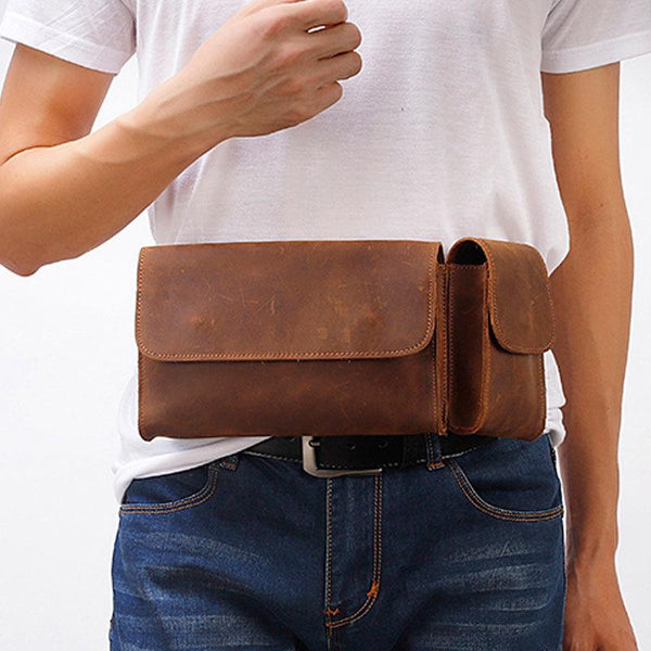 Cool Fashion LEATHER MEN'S Fanny Pack Waist Pack Belt Bag Belt Pack For Men