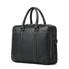 Handmade Leather Mens Cool Black Briefcase Bag Work Bag Business Bag for men
