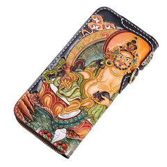 Handmade Leather Tooled Long Yellow Jambhala Mens Chain Biker Wallet Cool Leather Wallet Zipper Long Phone Wallets for Men