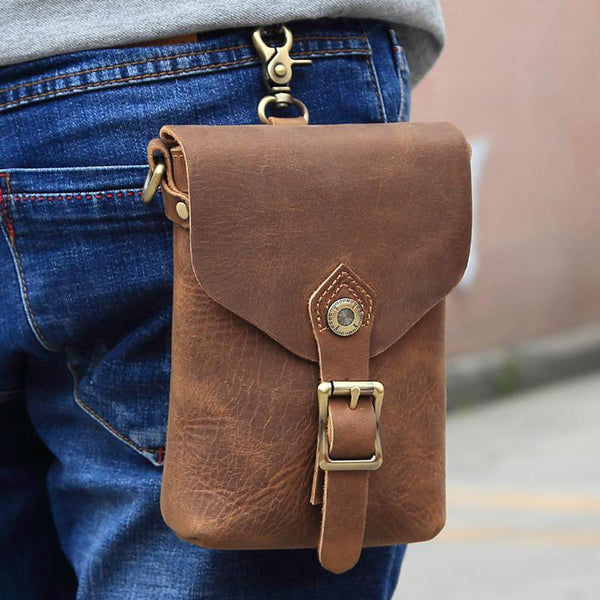 Vintage Brown Leather Men's Belt Pouch Cell Phone Holster Belt Bag Mini Side Bag For Men