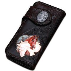 Handmade Leather Horse Mens Chain Tooled Long Biker Wallet Cool Leather Wallet With Chain Wallets for Men
