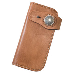 Handmade Leather Mens Cool Brown Long Chain Wallet Biker Trucker Wallet with Chain