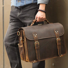 Cool Brown Leather Men's Large 16'' Briefcase Business Backpack Travel Handbag For Men