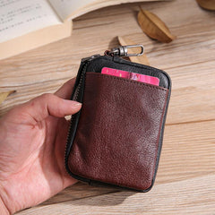 Leather Mens Card Wallets Cool Small Zipper Card Wallet Key Wallet with Belt Clip For Men