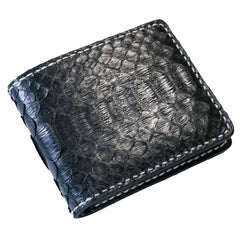 Handmade Leather Boa Skin Mens Short Wallet Cool Leather Wallet Slim Wallet for Men
