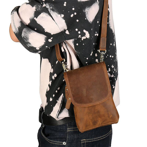 Cool Brown Leather Mens Belt Pouch Mini Shoulder Bag Belt Bags For Men