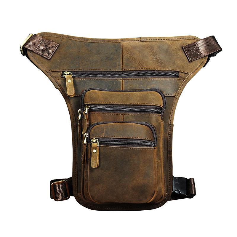 Cool Leather Drop Leg Bag Belt Pouch Mens Waist Bag Shoulder Bag for Men