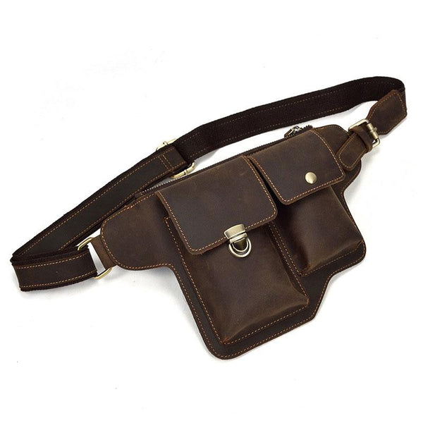 TRENDY LEATHER MENS FANNY PACK FOR MEN BUMBAG Vintage WAIST BAG for Men