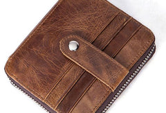 Cool Vintage Mens Leather Small Wallet Bifold Front Pocket Wallet For Men